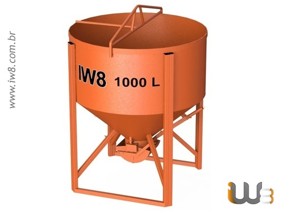 Balde 1000L Descarga Central de Concreto para Grua