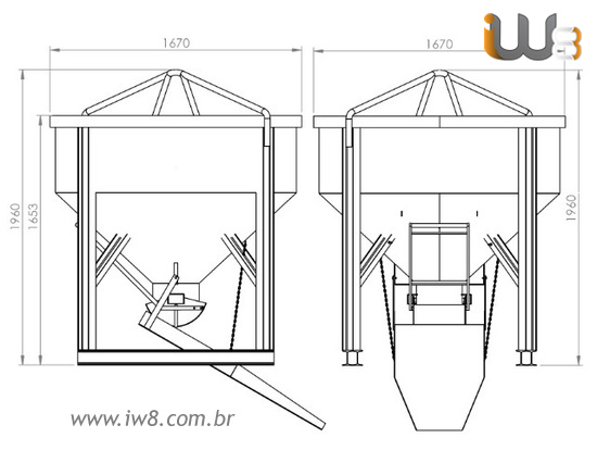 Balde 1500L Descarga Central e Lateral para Concreto