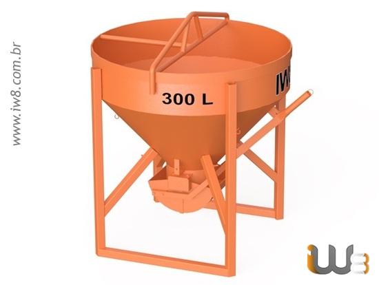 Balde 300L Descarga Central de Concreto para Gruas
