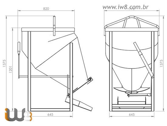 Balde 300L Descarga Lateral de Concreto para Gruas