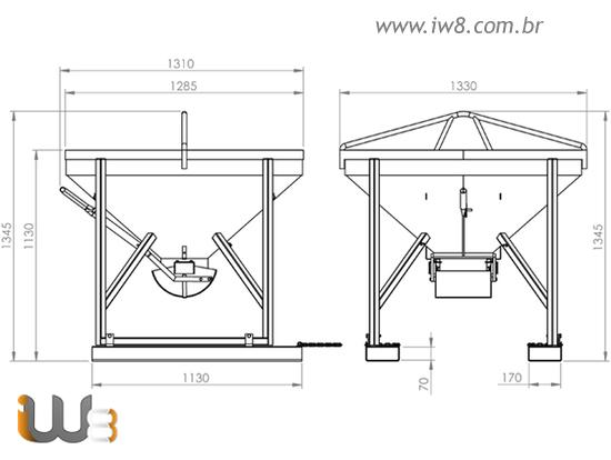 Balde 400L para Lançamento de Concreto