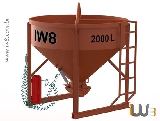 Balde de Aço para Concreto 2000L Pneumático