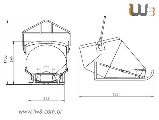 Balde Trenó 400L para Lançamento de Concreto