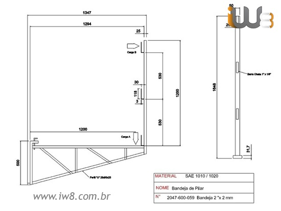 Bandeja Plataforma de Pilar 2x2mm