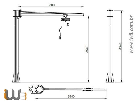 Braço Giratório com Talha Elétrica Trole Manual 100kg