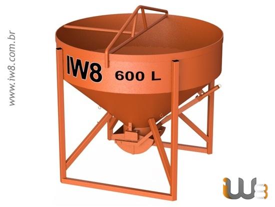Caçamba 600 Litros de Concreto para Gruas de Torre