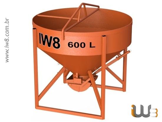 Caçamba 600L de Concreto para Grua
