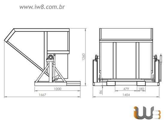 Caçamba Basculante para Cavaco 1,1m³
