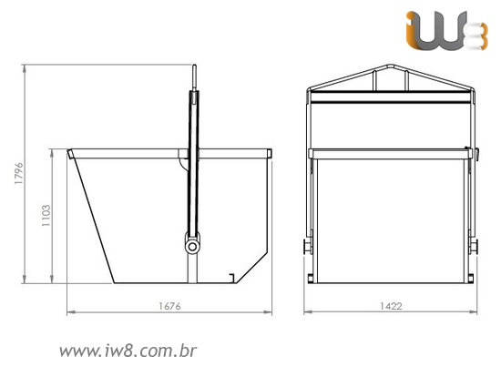 Caixa de Entulho Basculante 1,8m³ 1200kg