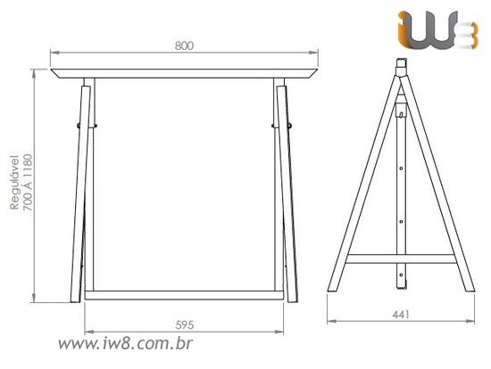 Cavalete Dobrável de Ferro para Obra Construção Civil