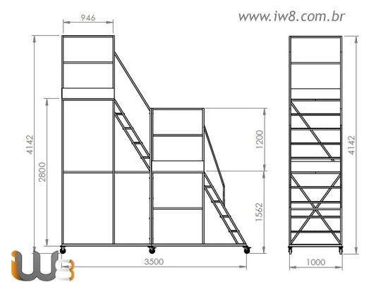Escada Andaime Móvel com Plataforma