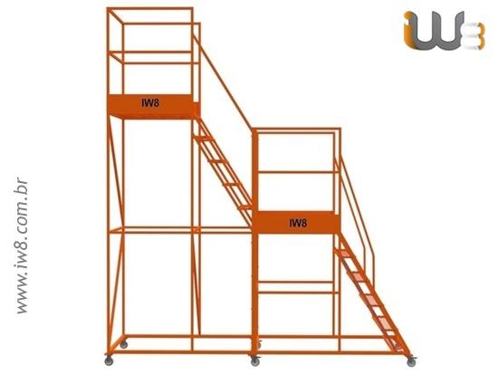 Escada com Plataforma Móvel para Almoxarifado