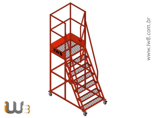 Foto do produto - Escada com Rodas e Plataforma 1,7m