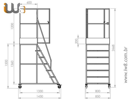 Escada com Rodas e Plataforma com Altura de 1,7m