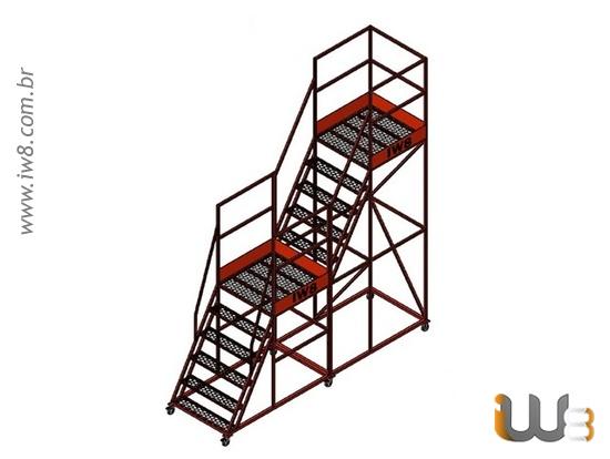 Escada de Ferro Móvel com Plataforma Dupla