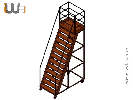 Escada Industrial Movel com Rodas