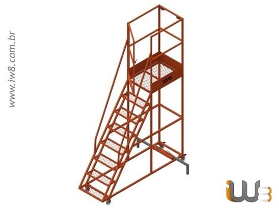 Escada Móvel com Guarda Corpo e Base de Segurança