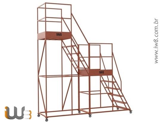 Escada Móvel com Guarda Corpo e Rodas