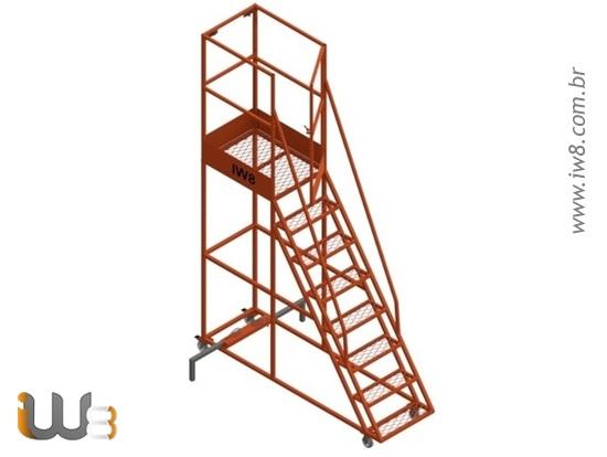 Escada Móvel com Guarda Corpo Nr