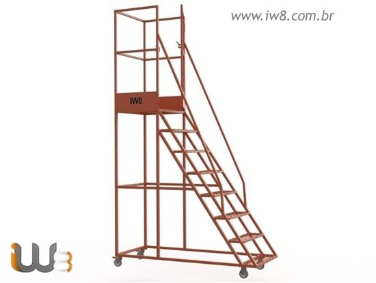 Escada Móvel com Guarda Corpo para Almoxarifado