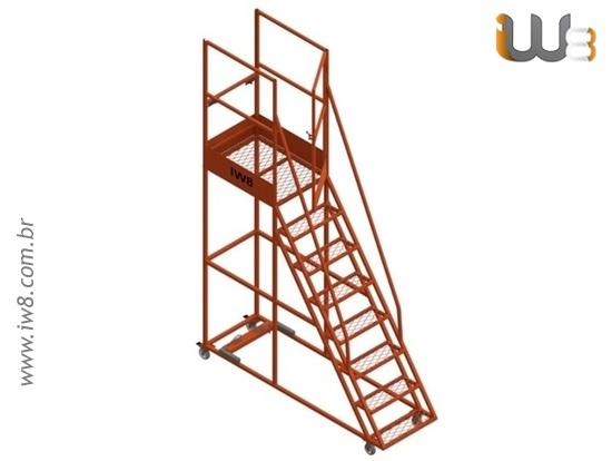 Escada Móvel com Plataforma de Segurança