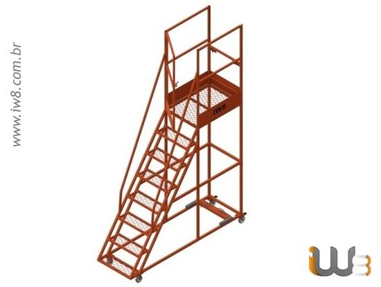Escada Móvel de Ferro com Plataforma