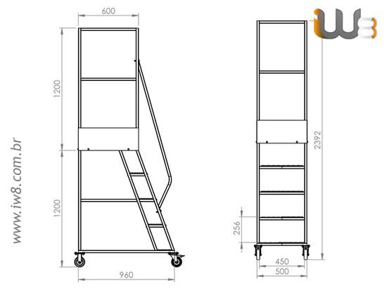Escada Móvel de Ferro com Rodas
