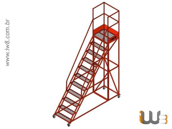 Escada Móvel Segura com Guarda Corpo