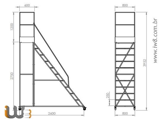 Escada Plataforma 10 Degraus com Guarda Corpo