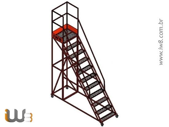 Escada Plataforma 10 Degraus com Rodas