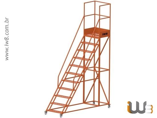 Escada Plataforma 10 Degraus Móvel