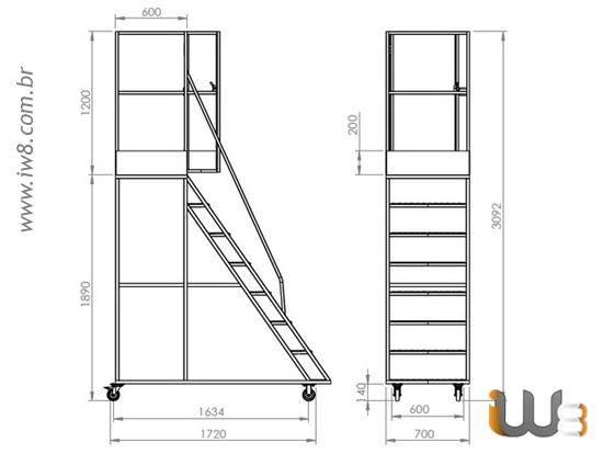 Escada Plataforma 1,9m e 7 Degraus para Almoxarifado