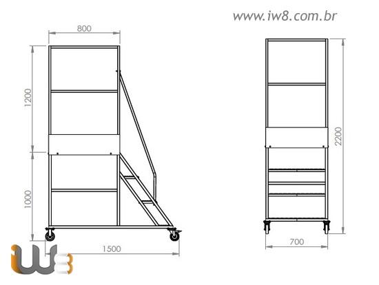 Escada Plataforma 3 Degraus com Guarda Corpo