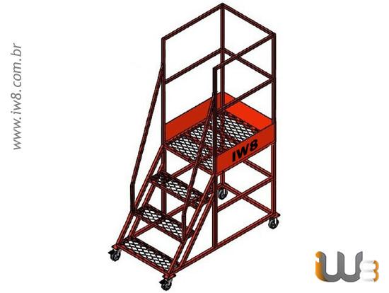 Escada Plataforma 3 Degraus com Rodas