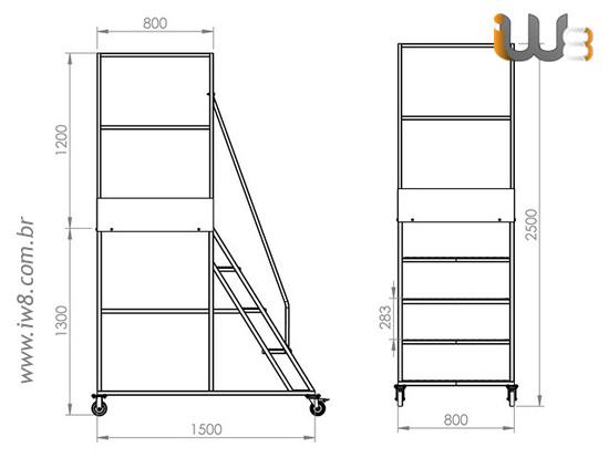 Escada Plataforma 4 Degraus Altura 1,3m