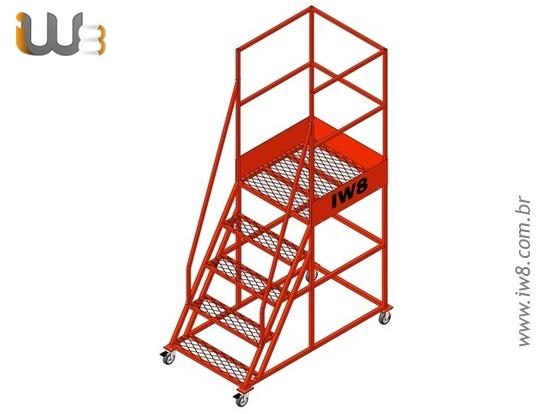Escada Plataforma 4 Degraus Altura 1,3m com Rodízio