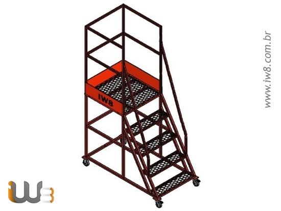 Escada Plataforma 4 Degraus com Rodízio