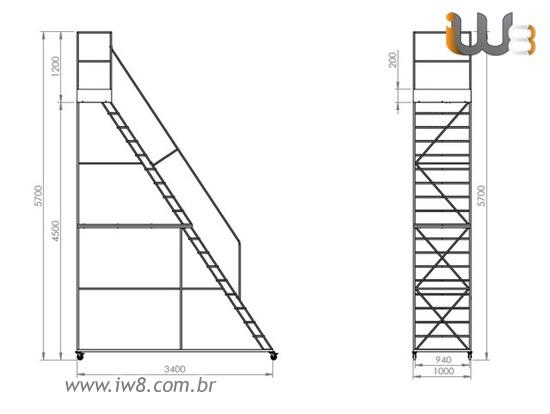 Escada Plataforma  4,5m com Rodas e 18 Degraus