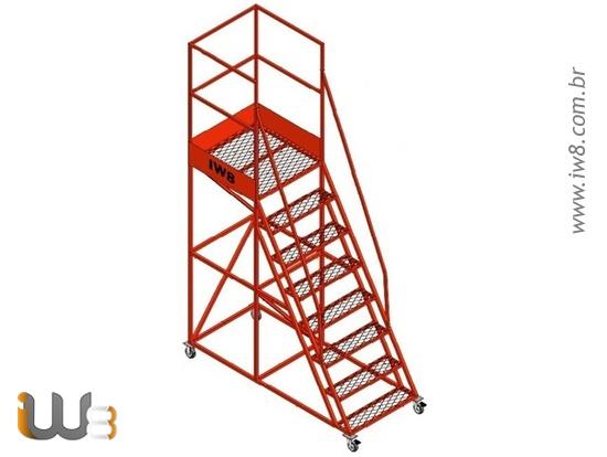 Foto do produto - Escada Plataforma 7 Degraus com Rodas