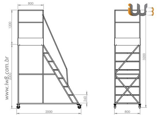 Escada Plataforma 7 Degraus com Rodinhas