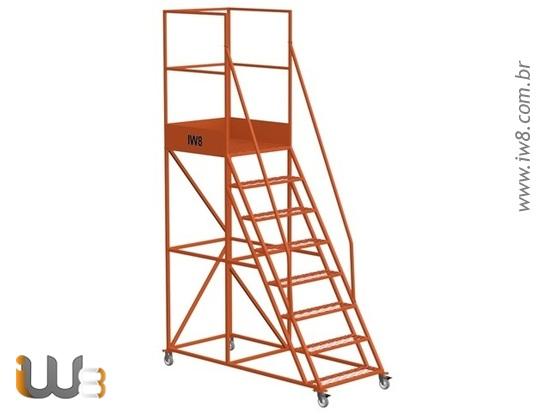 Escada Plataforma 7 Degraus de Ferro