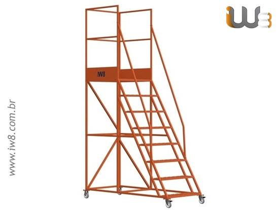 Escada Plataforma 7 Degraus Móvel
