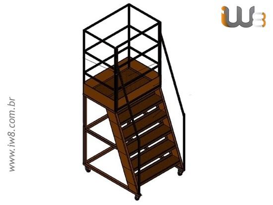 Escada Plataforma com Guarda Corpo