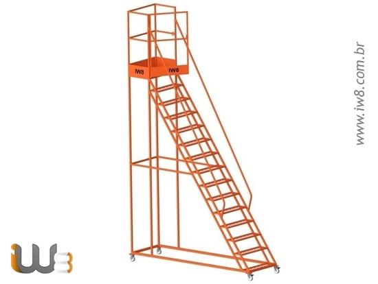 Escada Plataforma  com Rodas Alta