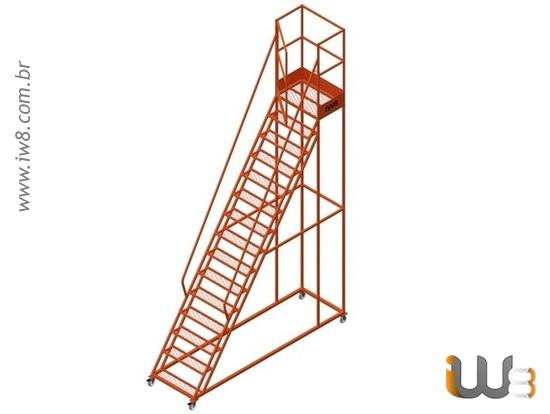 Escada Plataforma  com Rodas Altura 4,5m