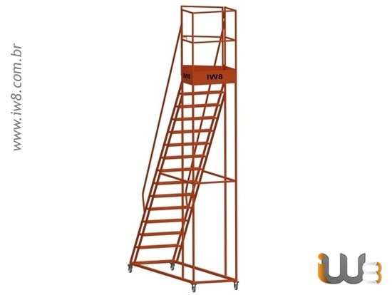 Escada Plataforma  com Rodas para Almoxarifado