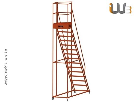 Escada Plataforma  com Rodas para Estoque