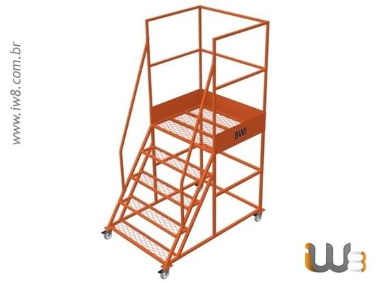 Escada Plataforma com Rodinhas