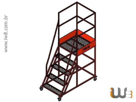 Escada Plataforma  com Rodízio 4 Degraus