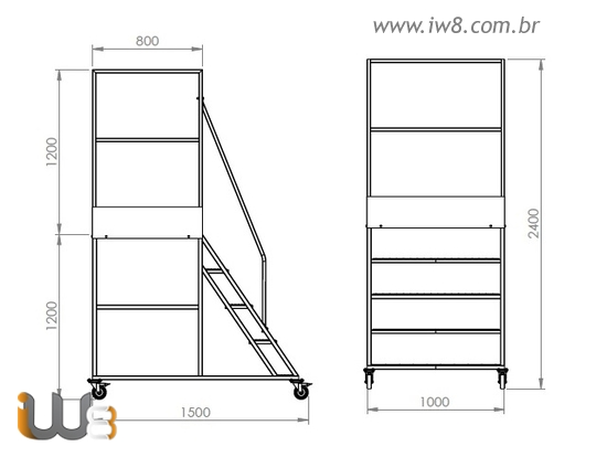 Escada Plataforma de Ferro